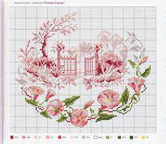 """""""Rosee du matin"""" by Veronique Enginger from 'Agenda 2010: Fleurs et jardins au point de croix' /Mango Pratique/"""