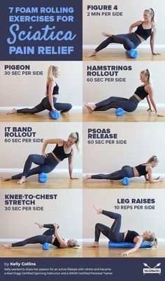 7 Foam Rolling Exercises for Sciatica Pain Relief: Increasing core strength can help prevent sciatic pain and lead to a quicker recovery. This exercise utilizes the foam roller to strengthen the abdominal muscles. Sciatica Stretches, Sciatica Pain Relief, Knee Pain Relief, Sciatic Pain, Sciatic Nerve Exercises, Yoga For Sciatica, Workout Playlist, Bodybuilding, Foam Roller Exercises