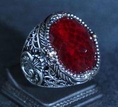 Turkish Handmade Ottoman 925K Sterling Silver Ruby Men's Ring Size 8,9,10,11,12 Sultan Suleiman