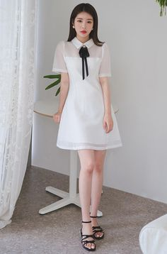 Ribbon Accent Perforated A-Line Dress Teen Fashion Outfits, Cute Fashion, Asian Fashion, Women's Fashion Dresses, Fashion Looks, Pretty Outfits, Pretty Dresses, Cute Outfits, Korean Dress