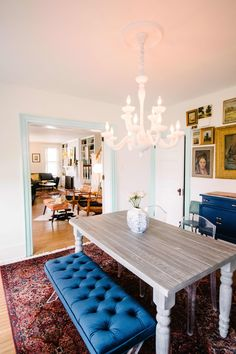 Gorgeous Tile, Stunning Wallpaper, and a Perfect Gallery Wall Shine in This Home's Remodel Stunning Wallpapers, Vintage Sideboard, Heating And Air Conditioning, Bathroom Wallpaper, Bathroom Colors, Kitchen Flooring, Cool Lighting, Old Houses, Apartment Therapy