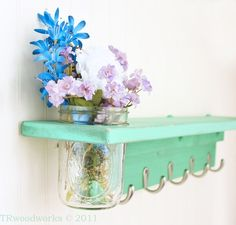 5 Hook Wall Shelf and Mason Jar Vase in shabby Sea Foam- Twigs Decor on Etsy, $59.00