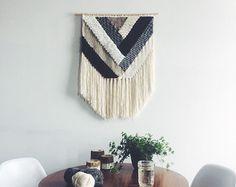 Woven Wall Hanging Denim Weaving van UnrulyEdges op Etsy