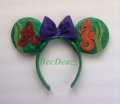 Disney Little Mermaid Ariel Minnie Mouse ears headband on Etsy, $25.00