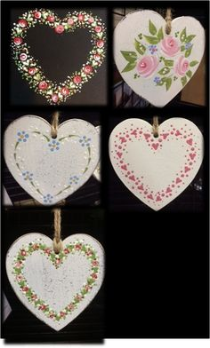 """Learn how to paint kits. New """"Folk It"""" kits make a great gift for Mother's Day. Link is to wholesaler. no price listed. Heart Painting, Tole Painting, Painted Rocks, Hand Painted, Diy And Crafts, Arts And Crafts, Pintura Country, Heart Crafts, Hanging Hearts"""