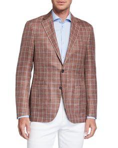 Canali Men's Windowpane Two-Button Jacket | Neiman Marcus Luxury Wardrobe, Merino Wool Sweater, Jacket Buttons, Sport Coat, Gorgeous Women, Dress Pants, Neiman Marcus, Luxury Fashion, Trousers