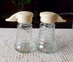 Vintage Daniell's Glass Diamond Design w Cream Covers Salt and Pepper Shakers | eBay