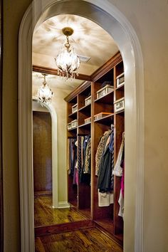 Cubbies in the closet and chandeliers