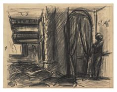 Edward Hopper (1882–1967), Study for New York Movie, 1938 or 1939. Fabricated chalk on paper, 8 3/8 × 10 15/16 in. (21.3 × 27.8 cm). Whitney Museum of American Art, New York; Josephine N. Hopper Bequest  70.100.© Heirs of Josephine N. Hopper, licensed by the Whitney Museum of American Art. Digital image © Whitney Museum of American Art