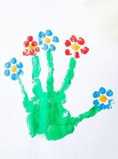 Malen im Frühling mit Kindern   Blume aus Handabdruck