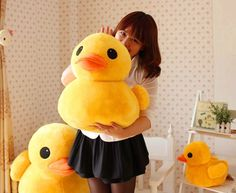 Lovable big yellow duck children lint toy/for children gift---free shipping Cute #New