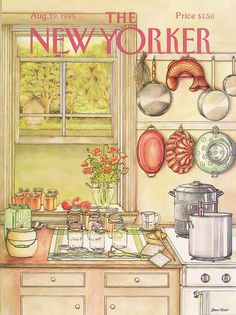 Jenni Oliver : Cover art for The New Yorker 3157 - 19 August 1985 The New Yorker, New Yorker Covers, Vintage Posters, Vintage Art, Vintage World Maps, Vintage Photos, Vintage Travel, Magazine Art, Magazine Covers