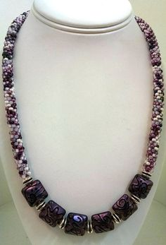 Kumihimo Lampwork Focal Necklace Kumihimo by sparkleezcrystals