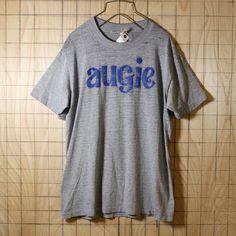 Collegiate Pacific/USA製80s古着/霜降り杢グレーaugieプリントTシャツ/メンズLサイズ