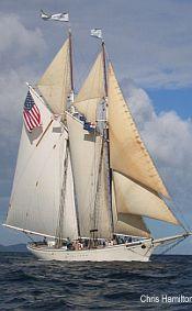 SPIRIT OF MASSACHUSETTS from USA. Rig: schooner. length 125 ft Height 103 ft -- sail area 7000 sq ft.