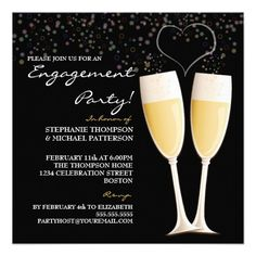 engagement party invitations | Champagne & Bubbles Engagement Party Invitation