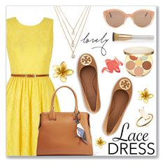 """Lovely Lace Dress"" by dressedbyrose ❤ liked on Polyvore featuring Yumi, tarte, Tod's, Forever 21, Tory Burch, Eve Lom, Illesteva, chic, lacedress and polyvoreeditorial"