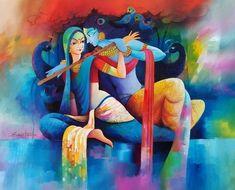Buy Radha Krishna Love Painting at Lowest Price by Sanjay Tandekar Radha Krishna Wallpaper, Radha Krishna Pictures, Radha Krishna Love, Radhe Krishna, Lord Krishna, Krishna Statue, Hanuman, Ganesha Art, Dibujo