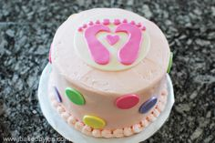 Tiny Toes Theme Baby Shower Cake
