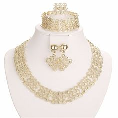 Moochi Gold-Plated 5PC Wide Oval Pattern Jewelry Set Necklace Earrings Bracelet Ring >>> Read more reviews of the product by visiting the link on the image. (This is an affiliate link) #JewellerySets
