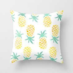 Pineapple Throw Pillow $20  by Shelby Nichole   Pineapple Bedroom, Pineapple Pattern, Summer Decor