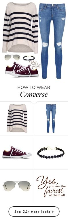 """stripes are ripe."" by lalatheawesome on Polyvore featuring Velvet by Graham & Spencer, Frame Denim, Converse, Ray-Ban, women's clothing, women's fashion, women, female, woman and misses"