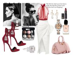 """Look At Me"" by princessjul-jul ❤ liked on Polyvore featuring Hanut Singh, Yves Saint Laurent, Fantasia by DeSerio, Cartier, Chanel, Armani Beauty, Maticevski, Giuseppe Zanotti, Oscar de la Renta and Lipstick Queen"