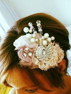 Shabby chic vintage fabric pearl and bead bridal hair comb £25.00