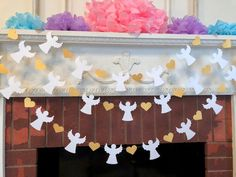 Heaven Sent Baby Shower Garland - Gold & White Baptism Angel Banner - First Communion Garland - Baby Dedication Decor - Your Color choice Baby Shower Winter, Baby Boy Shower, Christmas Classroom Door, Baby Shower Garland, Candy Bar Wedding, Baby Dedication, Baptism Party, Heaven Sent, First Holy Communion