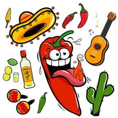 Mariachi Chili Pepper Mexican Icon Collection Stock Vector - Illustration of pepper, mexican: 36308205 Mexican Pictures, Mexican Artwork, Mexican Birthday Parties, Chicano Art, American Indian Art, Icon Collection, Cartoon Pics, Stuffed Hot Peppers, Holiday Photos