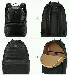 MCM Medium Crocodile Embossed Print Black Backpack £900 RARE BEST OFFER!