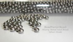 Silver Oxide Plated Metal Seed Beads  New Color by BeadParlorBeads