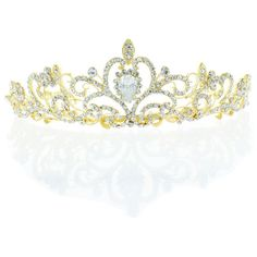 Kate Marie 'osie' Rhinestone Crown Tiara Headband in Gold ($70) ❤ liked on Polyvore featuring jewelry, crowns, tiaras, accessories, hair, yellow, jewelry & watches, rhinestone jewelry, gold jewelry and holiday jewelry