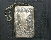 Antique Compact Purse. Art Nouveau. Coins, Calling Cards, Powder, Mirror.