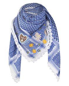 Anina W Schal in Blau-Weiß mit Lebkuchen-Applikation und Edelweiß-Borte 2014 €160 #Tracht #Trachtentuch