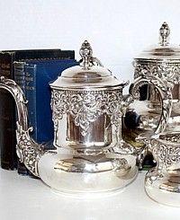 Antique Victorian Quadruple Silver Plate Repousse Tea Set-tea, pot, creamer,high,floral,ornate,middletown,monogram