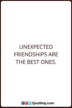 Friendship Quotes Unexpected friendships are the best ones.