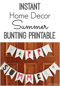 Home Decor Summer Bunting Printable