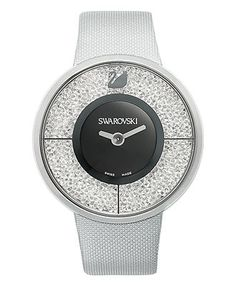 Swarovski Watch, Women's Swiss Crystalline Silver Tone Structured Fabric Strap 40mm - Swarovski - Jewelry & Watches - Macy's