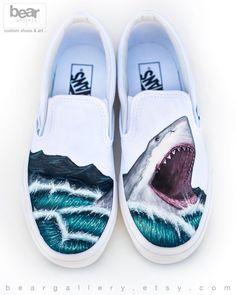 d70a225f509 Custom Painted Vans Shark Shoes - Hand Painted Great White Shark Great  White Shark