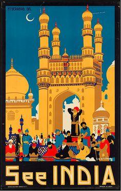 India vintage travel poster #poster #vintage #travel