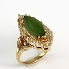 Vintage-Solid-10K-Yellow-Gold-1-0ct-Green-Nephrite-Jade-Wide-Ring-Size-5