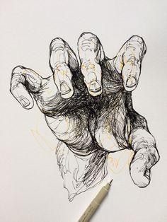 Dark Art Drawings, Art Drawings Sketches, Arte Sketchbook, Sketch Painting, Hand Art, Aesthetic Art, Figure Drawing, Art Inspo, New Art
