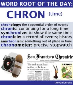 WORD ROOT OF THE DAY: CHRON (time) #wordroot #chron
