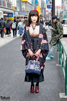 "tokyo-fashion: ""Ritsu is a Japanese bassist wearing a kimono with steampunk accessories who we met on the street in Harajuku. Full Look "" Asian Street Style, Tokyo Street Style, Japanese Street Fashion, Tokyo Fashion, Harajuku Fashion, Korean Fashion, Kimono Outfit, Kimono Fashion, Fashion Outfits"