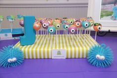 Ice Cream Party Ideas Cake pops at a Monsters Inc Party Monster Party Treat Table so cute Monster University Birthday, Monster Birthday Parties, 3rd Birthday Parties, Birthday Ideas, 1st Birthdays, Monster Party, Monster Cake Pops, Cookie Monster, Monster Baby Showers