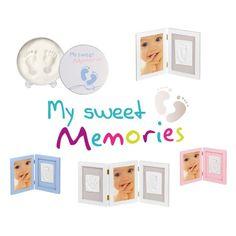 My Sweet Memories 34122003 - 3-teiliger Rahmen für Foto und 2 Baby-Abdrücke, weiß: Amazon.de: Baby