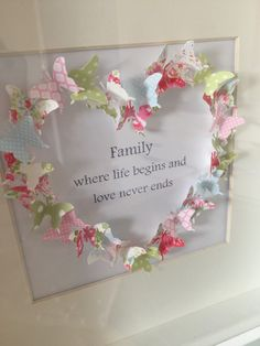 Family slogan butterfly heart box frame by Emmyloucrafts on Etsy Butterfly Frame, Butterfly Crafts, Butterfly Family, Box Frame Art, Box Frames, Craft Gifts, Diy Gifts, Hobbies And Crafts, Diy And Crafts