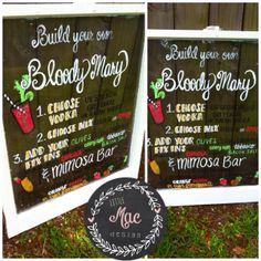 Bloody Mary and mimosa bar sign for wedding, showers, party or any occasion! Build your own drink instructions hand painted on vintage window.