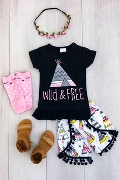 """Wild and Free"" Teepee Pom Pom Shorts Set"